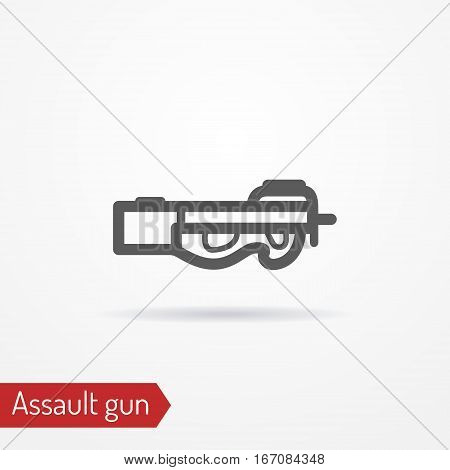Abstract compact assault firearm. Isolated icon in line style with shadow. Typical police special forces weapon. Military vector stock image.