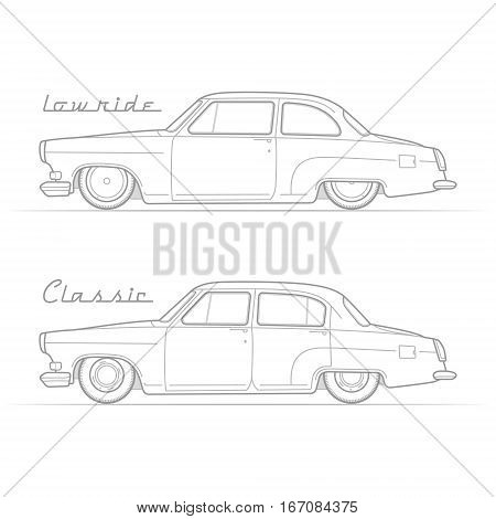 Two isolated lowrider retro cars in silhouette line style with sample text. Two-door coupe and sedan. Typical lowered vintage vehicle. Custom car vector stock image.