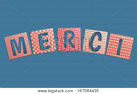 Merci - thank you in French.Vector illustration in vintage style.
