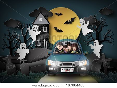 Family driving in car with ghost and graveyard in fullmoon.paper art stlye.