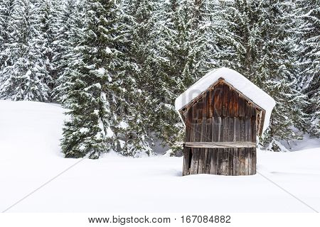 Winter Mountain Forest Landscape With Small Wooden Shed And Trees Covered With Snow