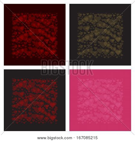 Set of multicolored romantic background with hearts. Framework of hearts for Valentine's Day and other romantic events. Vector illustration