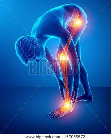 3d Illustration of men Pain in leg