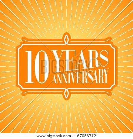 10 years anniversary vector illustration icon logo. Graphic design element for 10th anniversary birthday greeting card