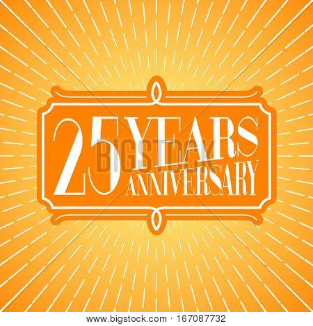 25 years anniversary vector illustration icon logo. Graphic design element for 25th anniversary birthday greeting card