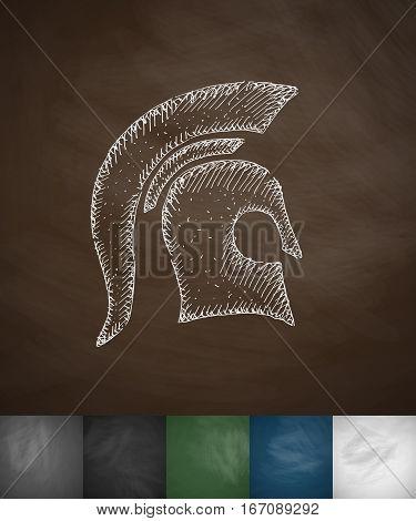 Helm knight icon. Hand drawn vector illustration. Chalkboard Design
