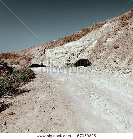 Road in the Judean Desert on the West Bank Vintage Style Toned Picture