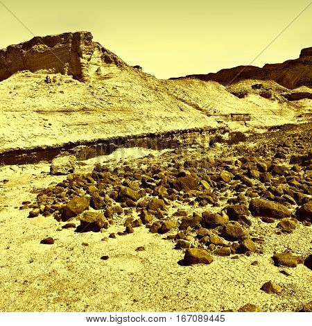 Canyon in the Judean Desert on the West Bank Vintage Style Toned Picture