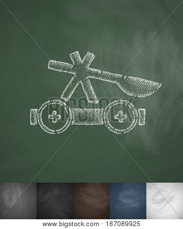 Thrown weapon icon. Hand drawn vector illustration. Chalkboard Design