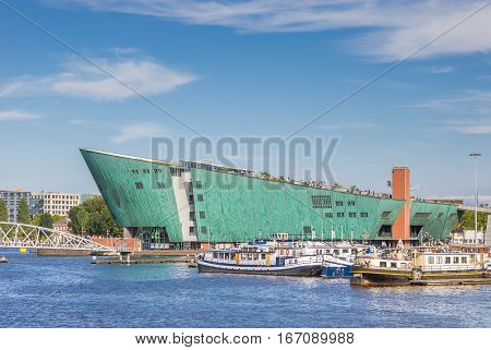 AMSTERDAM, NETHERLANDS - SEPTEMBER 18, 2016: Modern building of the Nemo Science center in Amsterdam, Holland