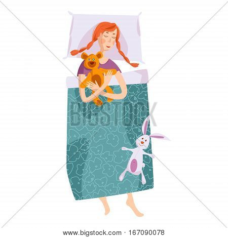 Sleeping little girl with a teddy bear and a toy hare. Good night. Sweet dreams. Vector illustration