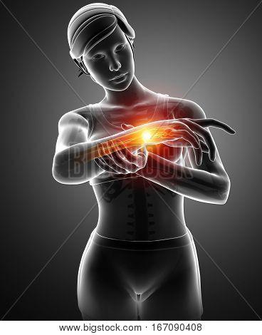 Women Feeling The Wrist Pain
