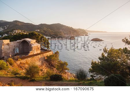 View on the coast and the sea in Costa Brava. Tossa de Mar Catalonia Spain.