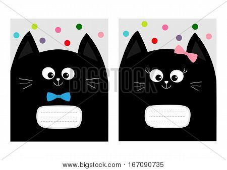 Notebook cover Composition book template. Black cat kitty head with bow. Cute cartoon character set. Pet baby collection Card. Flat design. White background Colorful dot. Vector illustration.