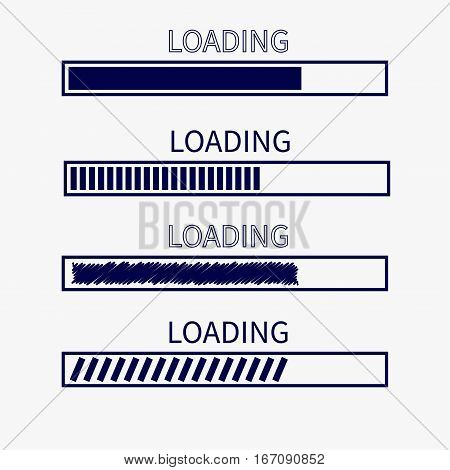 Loading progress status bar icon set. Web design app download timer. White background. Flat trendy scribble element. Isolated. Vector illustration