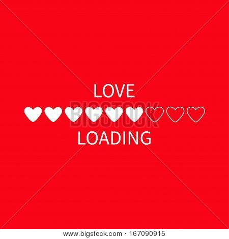 Progress status bar icon. Love loading collection. White heart. Funny happy valentines day element.Web design app download timer. Red background. Flat trendy object. Isolated. Vector illustration