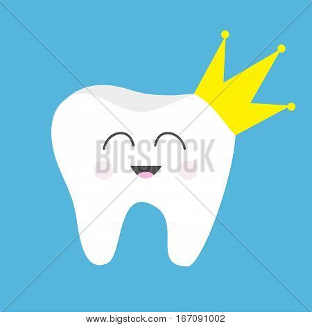 Tooth health icon Yellow crown. Cute funny cartoon smiling character. King queen prince princess Oral dental hygiene. Children teeth care. Baby background. Flat design. Vector illustration