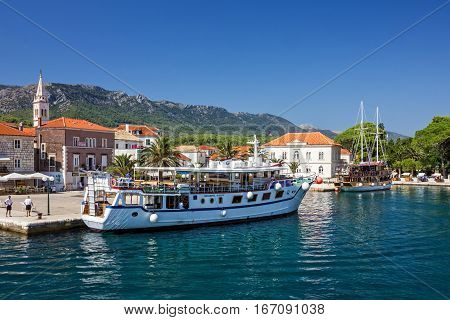 Hvar, Croatia - Aug 2, 2016: Croatia yacht in port of Hvar island
