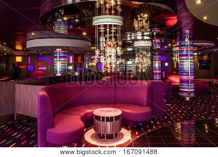 CRUISE LINER SPLENDIDA - JAN 3, 2017: Modern interior of cruise liner bar Splendida
