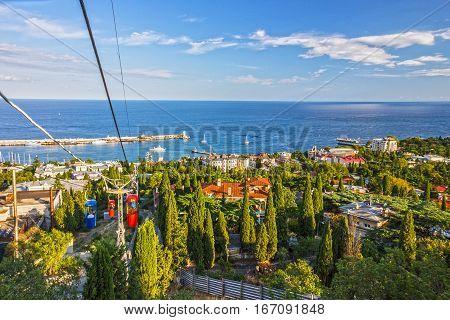 Cable car in Yalta resort, Crimea, Russia.