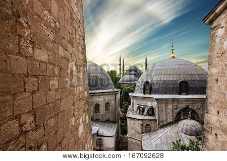 Blue mosque Sultanahmet in Istanbul city, Turkey