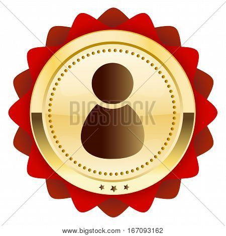 Best service seal or icon with admin or person symbol. Glossy golden seal or button with stars and red color.