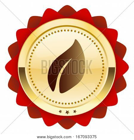 ecological or natural seal or icon with leaf symbol. Glossy golden seal or button with stars and red color.