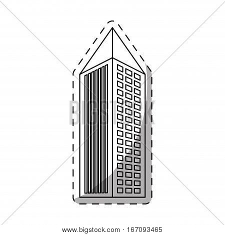 city building with pointy top  icon image line sticker vector illustration design