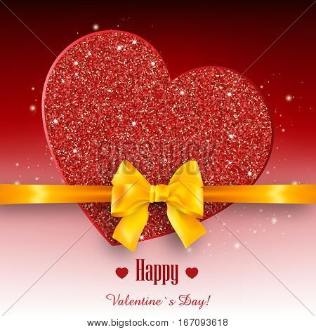 Valentine's day abstract background with gold sparkling hearts