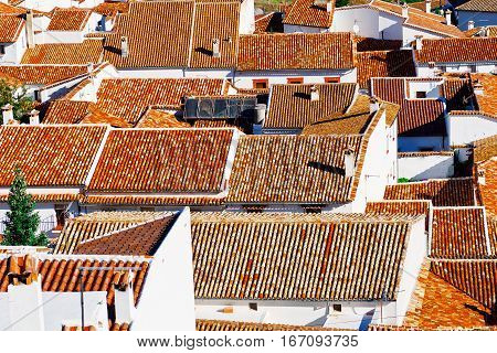 Bird's Eye View on the Red Tiles of the Spanish City of Grazalema