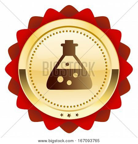 Chemistry seal or icon with beaker symbol. Glossy golden seal or button.