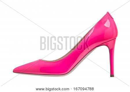 Pink patent leather shoes on a white background