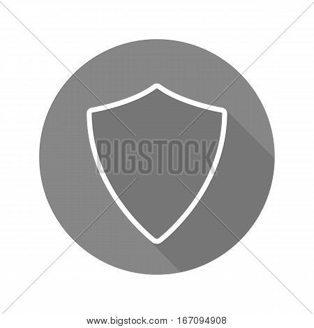 Shield flat linear long shadow icon. Protection sign. Vector line symbol