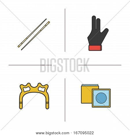 Billiard accessories color icons set. Pool equipment. Cues, chalk, glove, rest head. Isolated vector illustrations