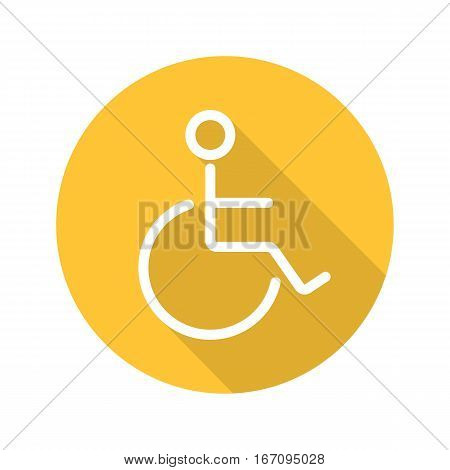 Wheelchair flat linear long shadow icon. Invalid wc door sign. Disabled. Vector line symbol