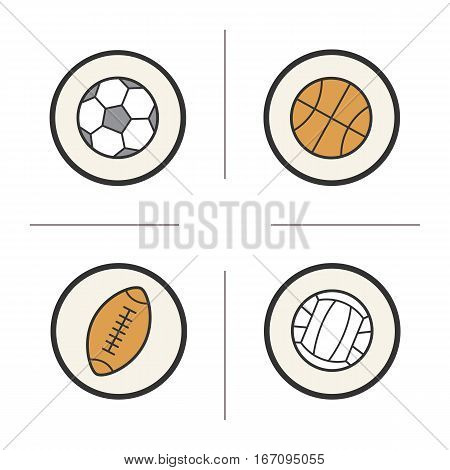 Sport balls color icons set. Volleyball, basketball, soccer and rugby balls. Isolated vector illustrations