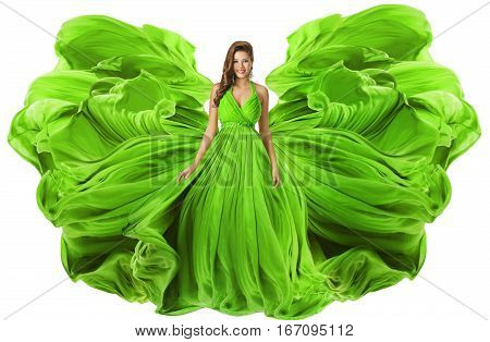 Fashion Model Waving Dress as Wings Woman in Green Gown Flowing Fabric Girl in Flying Cloth Isolated over White