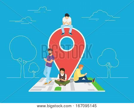 Mobile marketing with map tag concept illustration of young people using mobile smartphone to find shopping mall, events and offers. Flat guys and women sitting on the map with red pin symbol