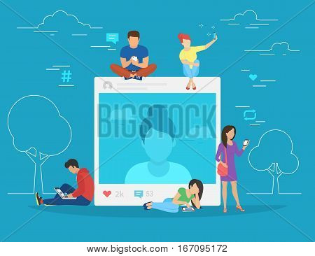 Self photo concept illustration of young woman taking photo and posting in social networks. Flat people sitting on big picture and leaving comments and likes for her post