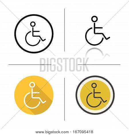 Wheelchair icon. Flat design, linear and color styles. Invalid wc door sign. Disabled. Isolated vector illustrations