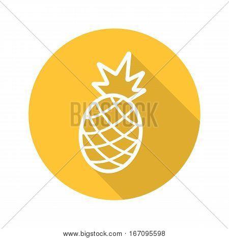 Pineapple flat linear long shadow icon. Ananas. Vector line symbol