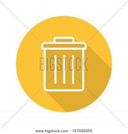 Trashcan flat linear long shadow icon. Dustbin. Trash bin. Vector line symbol