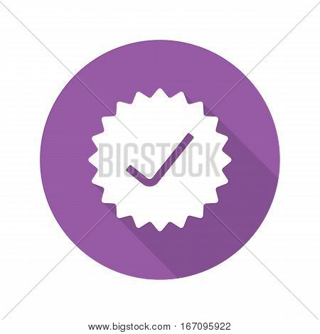 Approved stamp. Flat design long shadow icon. Accept badge. Purple sticker with tick. Vector silhouette symbol