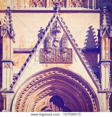 Detail of Portal of the Church in the Portugal City of Batalha Instagram Effect