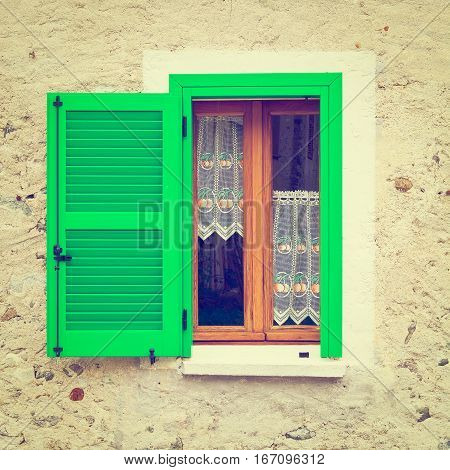 Italian Window with Open Wooden Shutters Instagram Effect