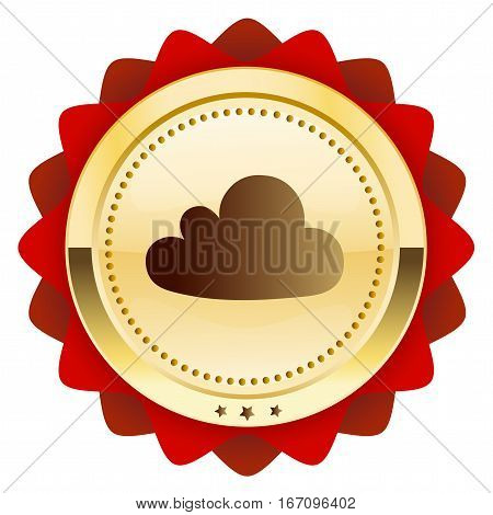 Data seal or icon with cloud symbol. Glossy golden seal or button.