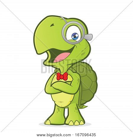 Clipart picture of a turtle geek cartoon character with folded hands
