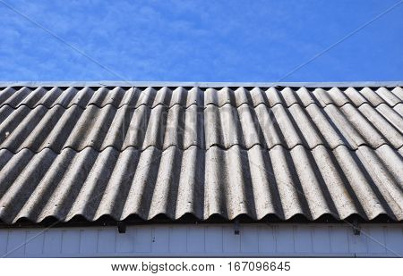 Asbestos Roof. Old Asbestos House Roofing Construction