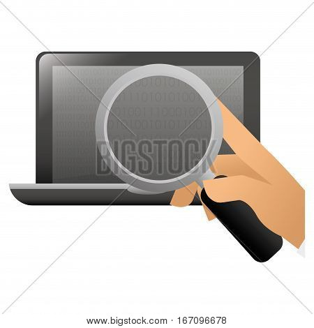 magnifying glass examining computer frontview icon image vector illustration design