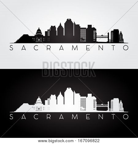 Sacramento USA skyline and landmarks silhouette black and white design vector illustration.